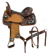 Double T Teal Barrel Racing Saddle Set 15804 - Western Saddles Headstall & Breast Collar