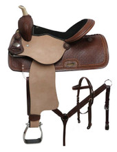 Double T Barrel Racing Saddle Set 7803 - Western Saddles Headstall & Breast Collar