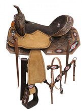 Double T Teal Barrel Racing Saddle Set 15806 - Western Saddles Headstall & Breast Collar