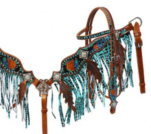 Showman Headstall Breast Collar Set Turquoise Metallic Painted Fringe 12976 - Western Tack