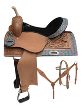 Circle S Barrel Racing Saddle 6701 - Western Saddles - Teal Orange Navajo and Cross