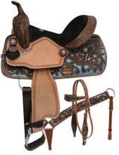 Double T Barrel Racing Saddle Set 15802 - Western Saddles Headstall & Breast Collar