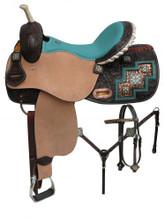 Double T Barrel Racing Saddle Set 6758 Leopard Print- Western Saddles Headstall & Breast Collar