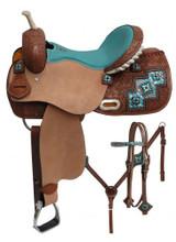 Double T Barrel Racing Saddle Set 6760 - Western Saddles Headstall & Breast Collar