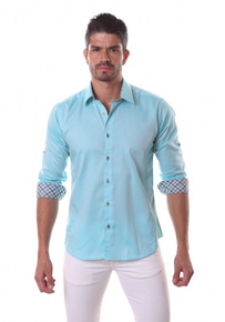 Jared Lang Button Down Shirt MADW 058 Chambray Turquoise