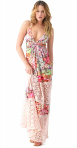 Sky Libertey Crochet Paneled Maxi Dress Pink
