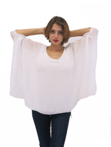 Tempo Paris Silk Poncho Top White