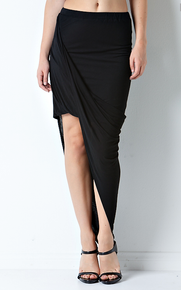 Flirt Selection Side Drape Asymmetrical Skirt Black
