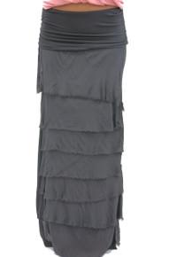 Tempo Paris Silk Maxi Skirt Charcoal