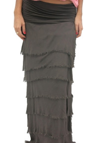 Tempo Paris Silk Maxi Skirt Brown