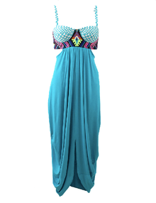 Mara Hoffman Embroidered Bustier Dress Turquoise