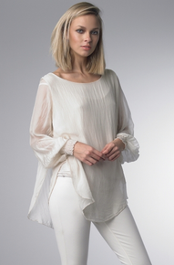 Tempo Paris Silk Long Sleeve Tunic Beige