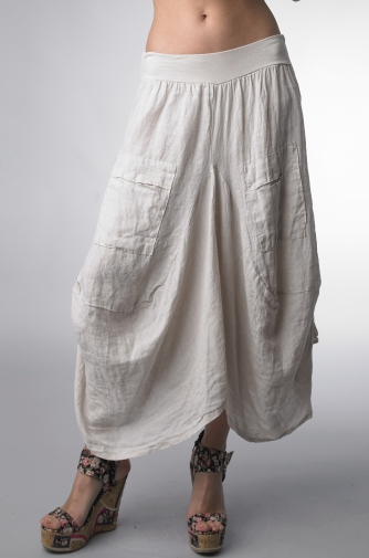 Tempo Paris Wide Waistband Linen Skirt Beige