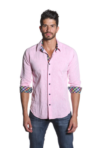Jared Lang Button Down Linen Shirt Van 1155 Pink