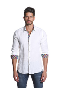 Jared Lang Button Down Linen Shirt Van 1157 White