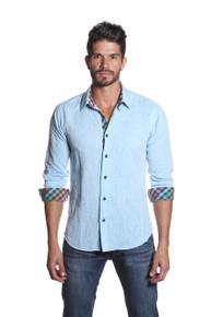 Jared Lang Button Down Linen Shirt Van 1158 Blue