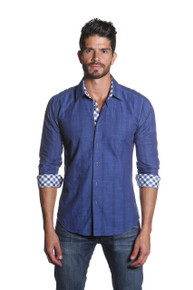 Jared Lang Button Down Linen Shirt Van 1164 Navy