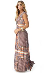 Sky Philyna Cap Sleeve Dress Peach Print