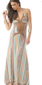 Sky Philana Maxi Halter Dress Blue Print