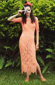 For Love and Lemons Luna Lace Maxi Dress Tropical Orange