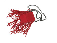 Cleobella Poe Leather Fringe Cross Body Bag Red