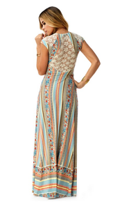 Sky Phernit Cap Sleeve Maxi Dress Blue Print