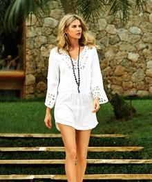 Vix Swimwear Solid Daisy Caftan White