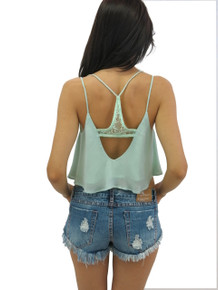 Flirt Selection Chiffon Crop Top Mint