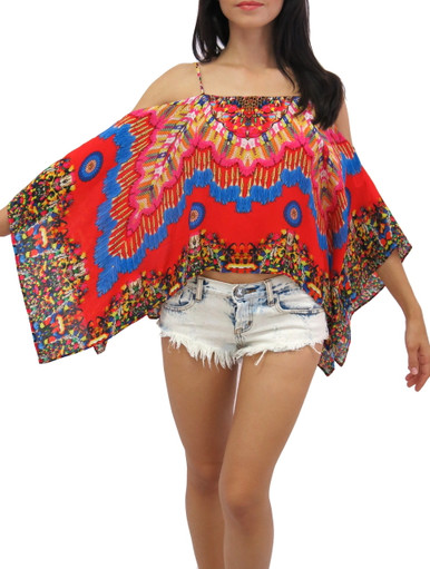 Parides Heritage Cold Shoulder Top Red