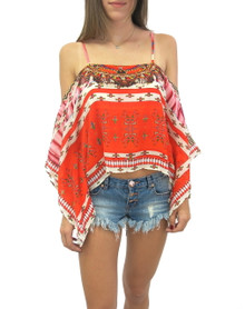 Parides Navajo Cold Shoulder Top Red