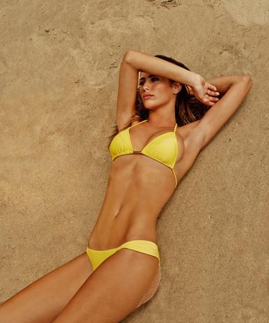 Vix Swimwear Solid Yellow Matelasse Bikini Set