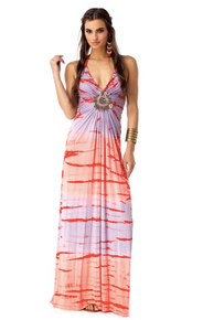 Sky Qeb Maxi Halter Dress Tie Dye Punch