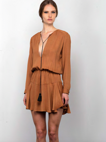 Karina Grimaldi Pilar Solid Mini Dress Camel