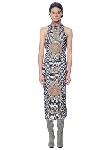 Mara Hoffman Ponte Turtleneck Dress Print Star Basket Nude