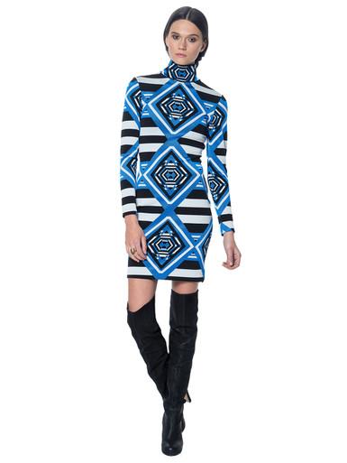 Mara Hoffman Mini Turtleneck Dress Keeper Blue Jacquard