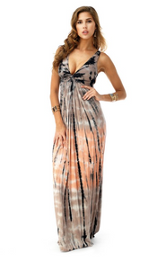 Sky Tania Maxi Dress Tie Dye Black