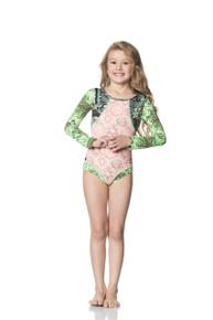 Maaji Kids Lime Waterfalls Long Sleeve One Piece Swimsuit