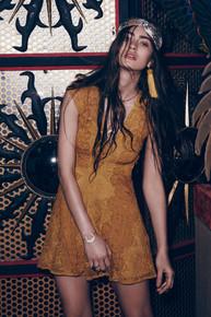 For Love and Lemons Sienna Mini Dress Goldenrod