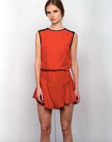 Karina Grimaldi Riley Solid Mini Dress Blood Red