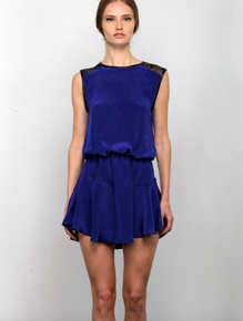 Karina Grimaldi Riley Solid Mini Dress Blue
