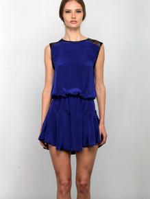 Karina Grimaldi Riley Solid Mini Dress Blue