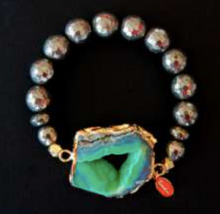 Cimber Bracelet Aloe with Pyrite Gems