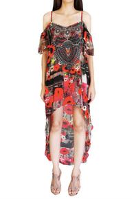 Parides Hi-Low Cami Dress Red Poppy Red