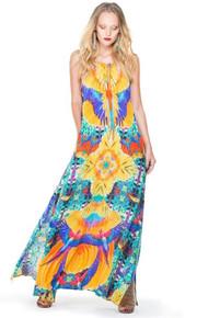 Parides Drawstring Maxi Dress Crochet Papaya
