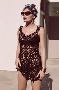 For Love and Lemons Swim Riviera Coverup Dress Black