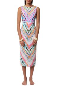 Mara Hoffman Tie Back Midi Dress Rainbow Roll Print
