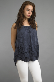 Tempo Paris 2562JL Sleeveless Two Tier Top Navy
