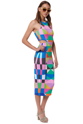 Mara Hoffman Ponte Cut Out Midi Dress Diamonds Pink Print