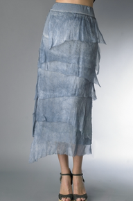 Tempo Paris 6582SO Silk Angled Tiered Skirt Denim