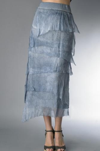 Tempo Paris 6582SO Silk Angled Tiered Skirt Denim
